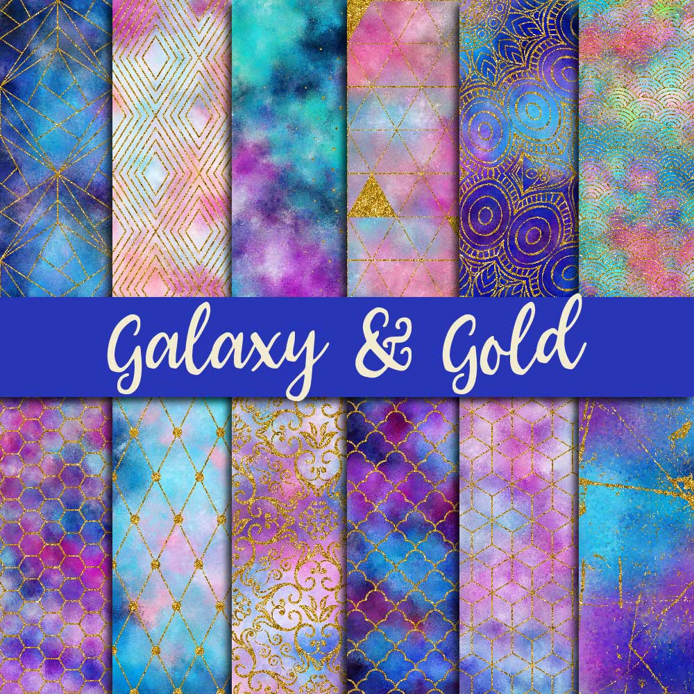 Galaxy & Gold Glitter Digital Paper example image 1