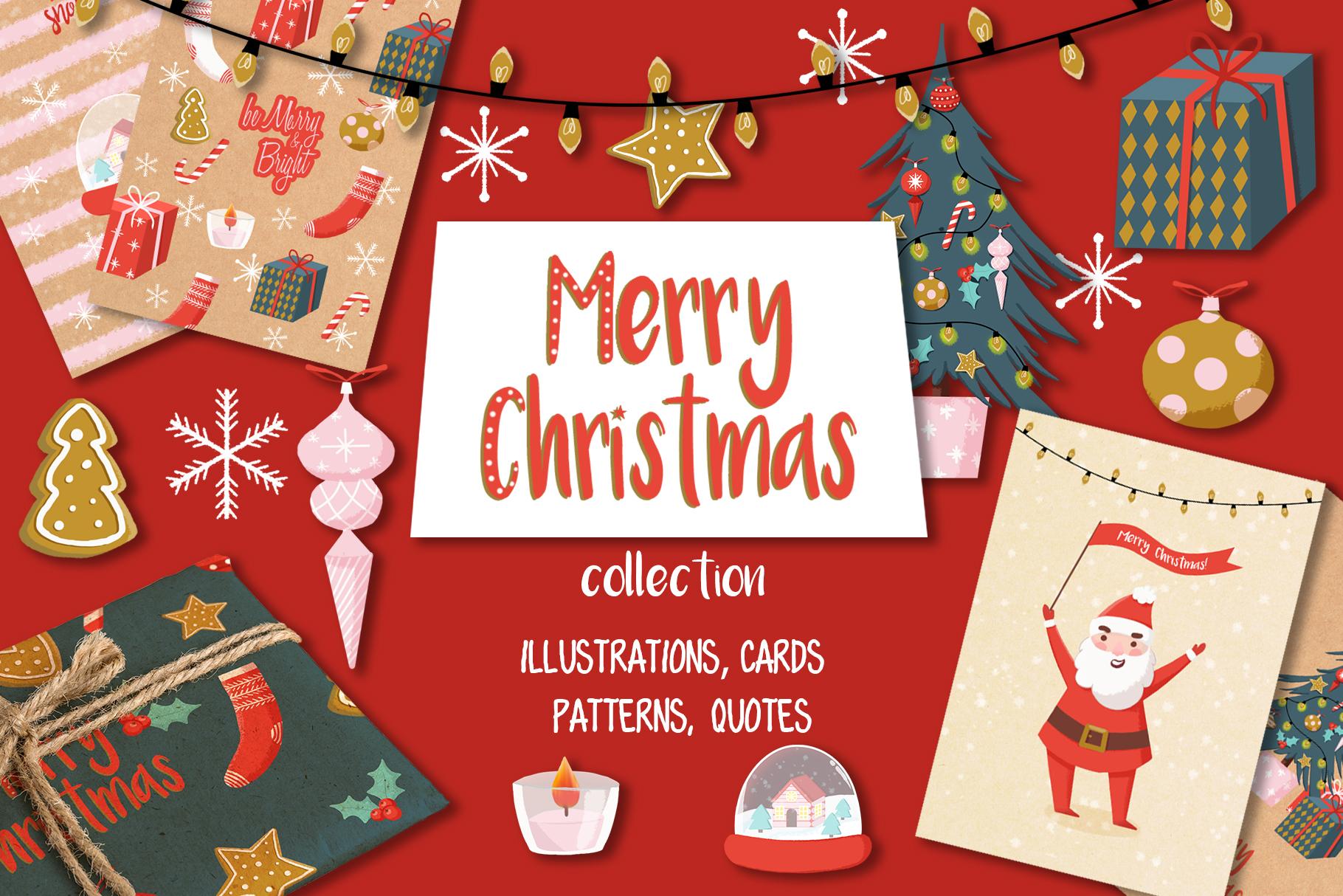 Merry Christmas hand drawn set example image 1