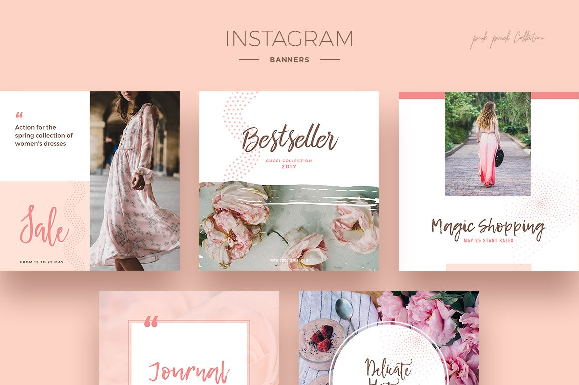 Pink Peach Social Media Designs example image 2