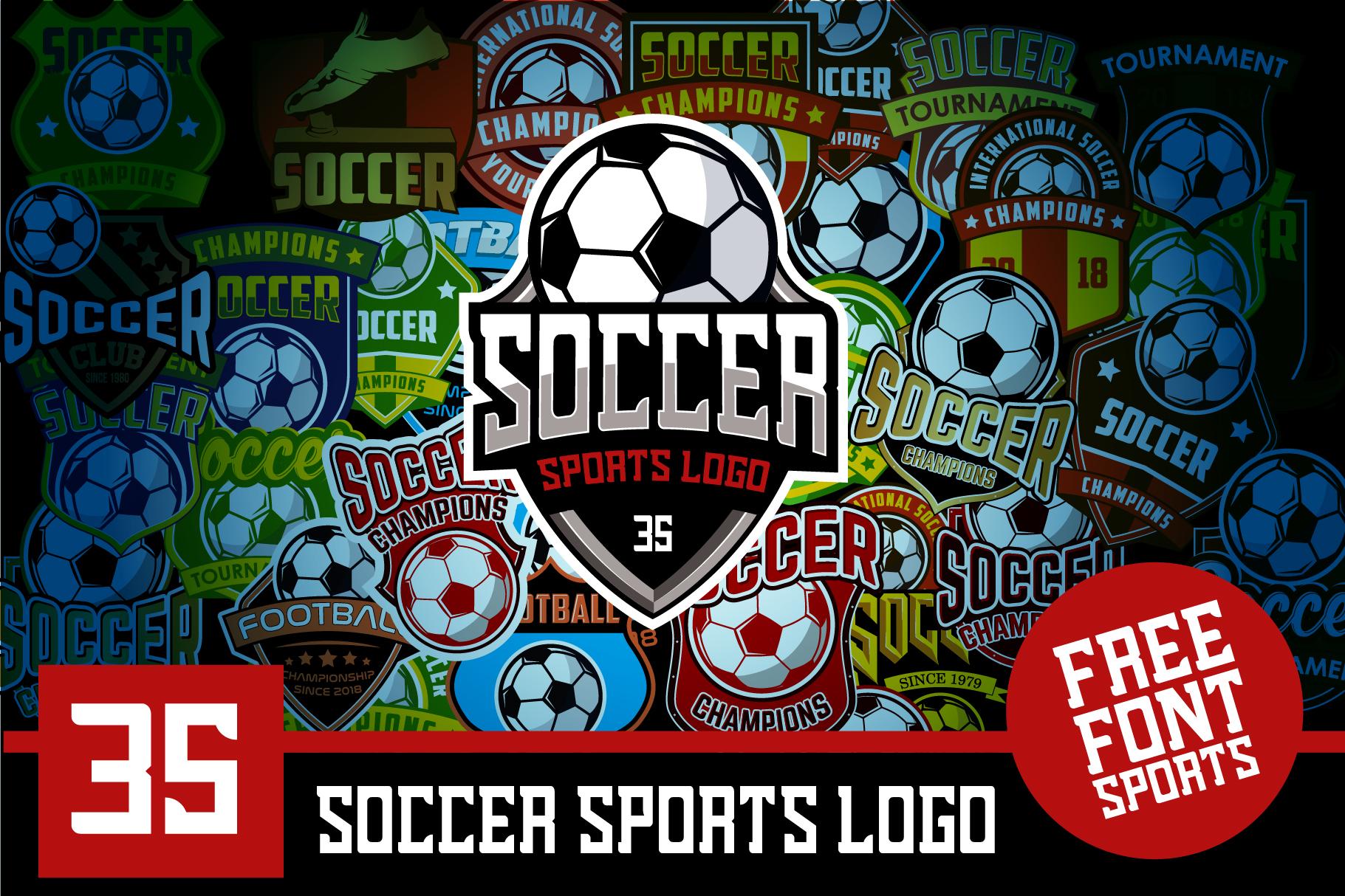 Set 35 Football Soccer Logo Emblem Template example image 1