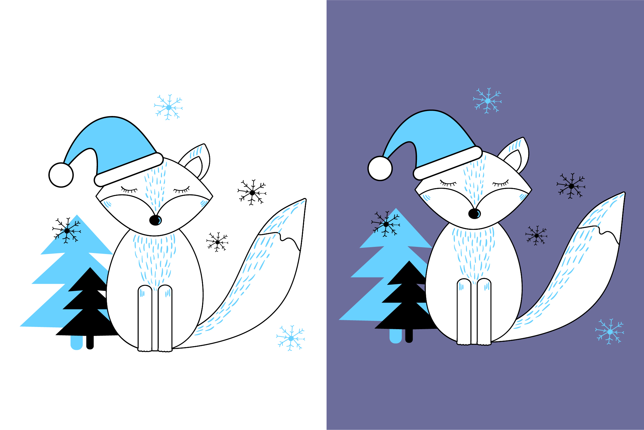 Cute fox. New Year and Christmas, winter animal. example image 2