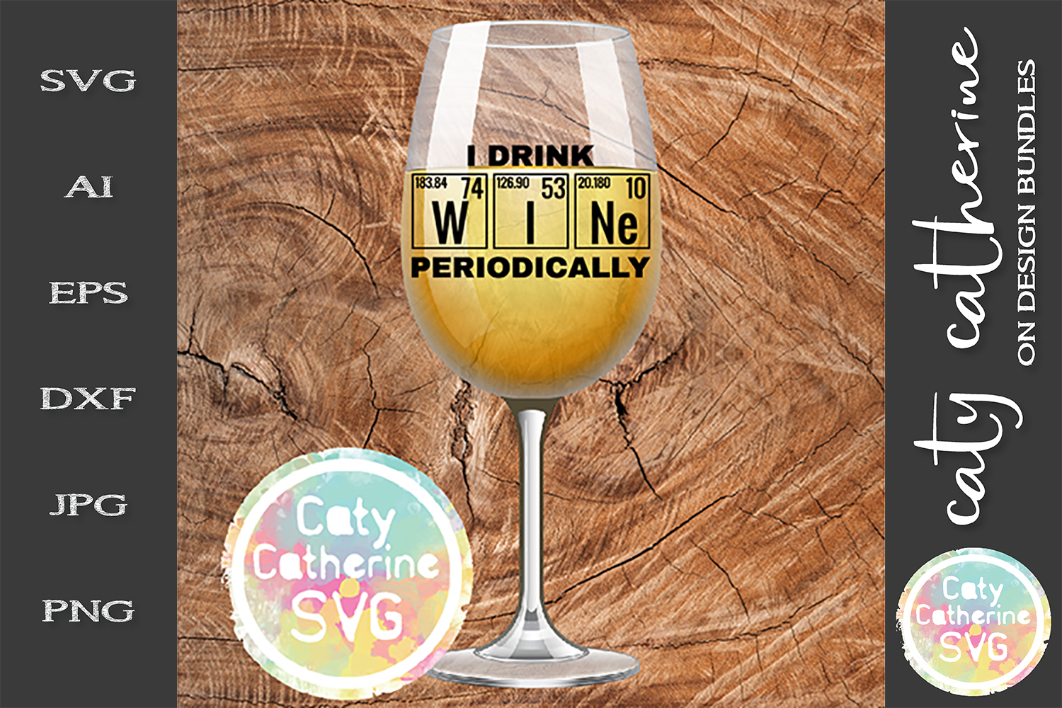 I Drink Wine Periodically Teacher SVG Wine Glass Cut File example image 1