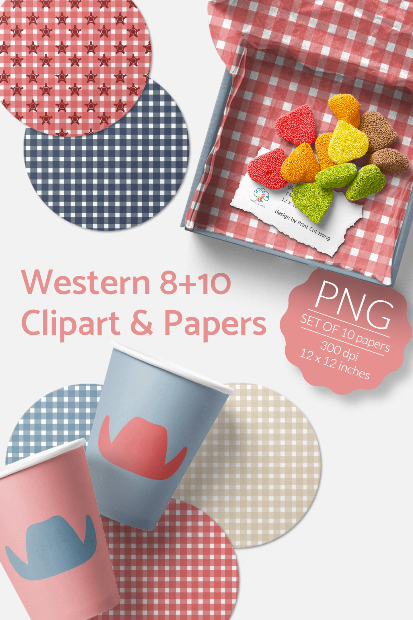Western Clipart & Gingham Scrapbooking Papers PNG files example image 7