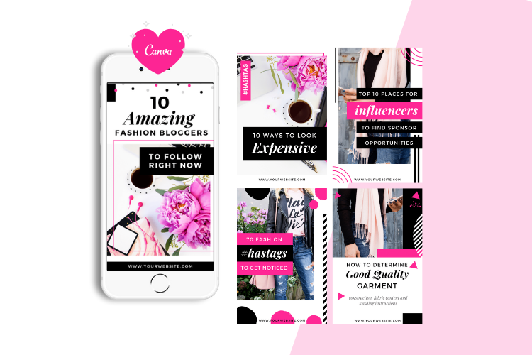 Fashion Blogger Pinterest Templates for Canva example image 3