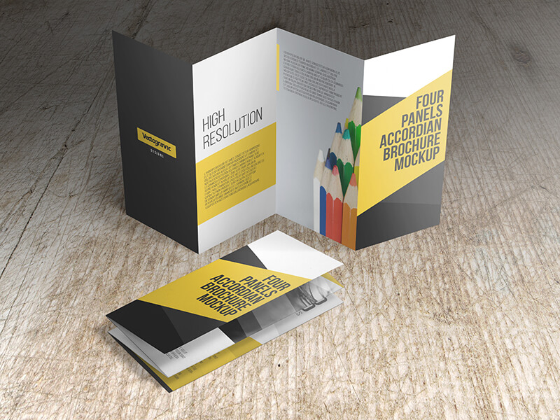 FOUR PANELS ACCORDION BROCHURE MOCKUPS example image 1