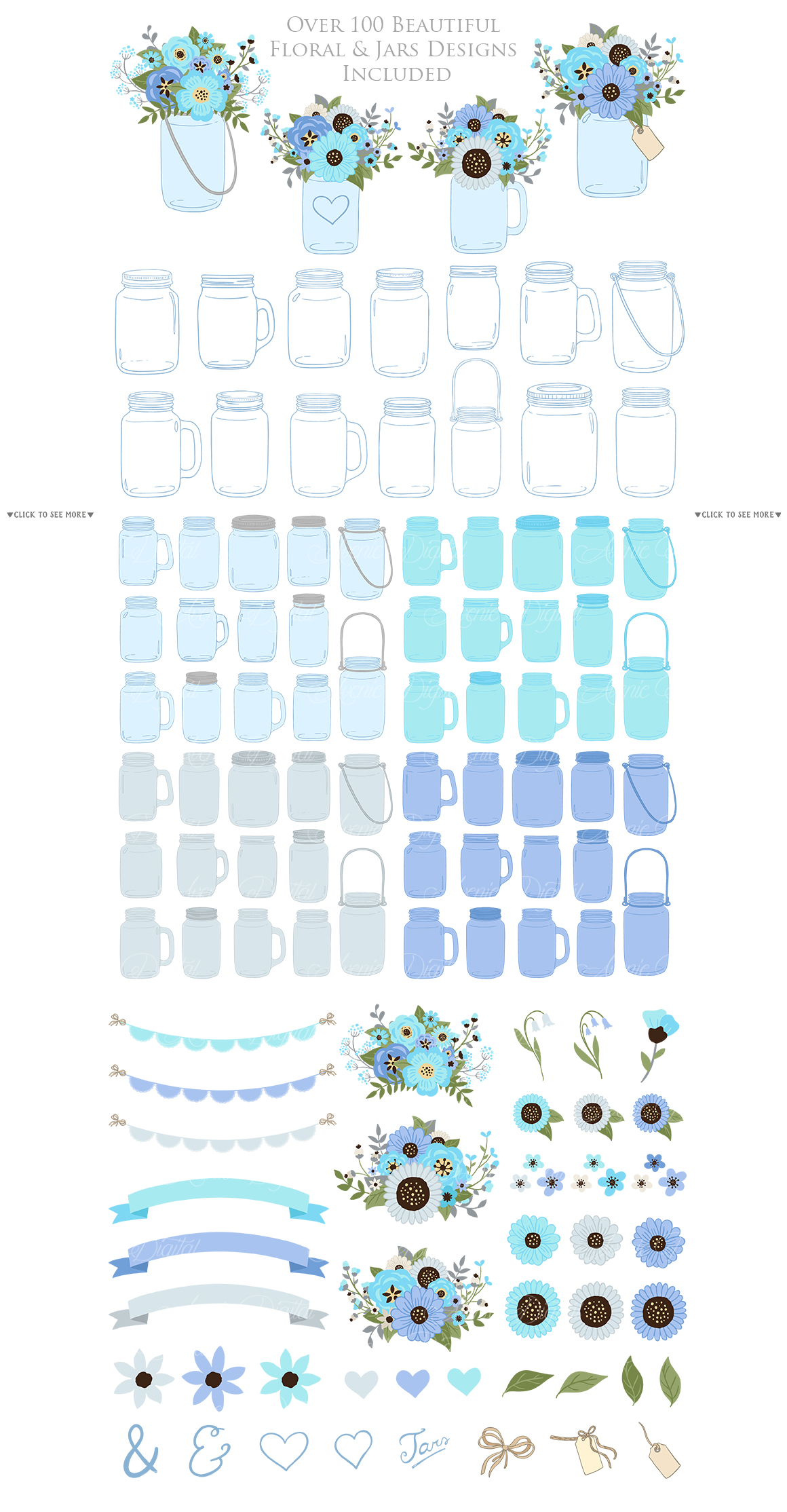 Blue and Gray Floral Mason Jar Wedding Clipart example image 2