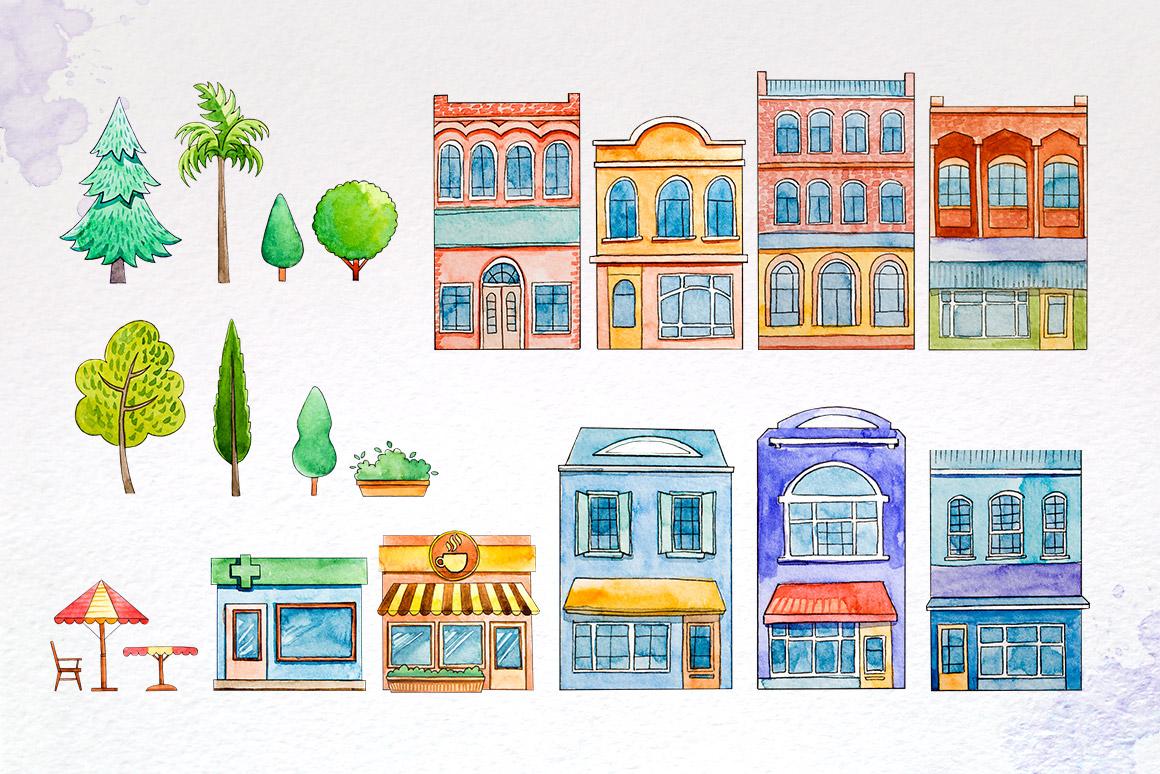 City Builder. Watercolor. example image 3