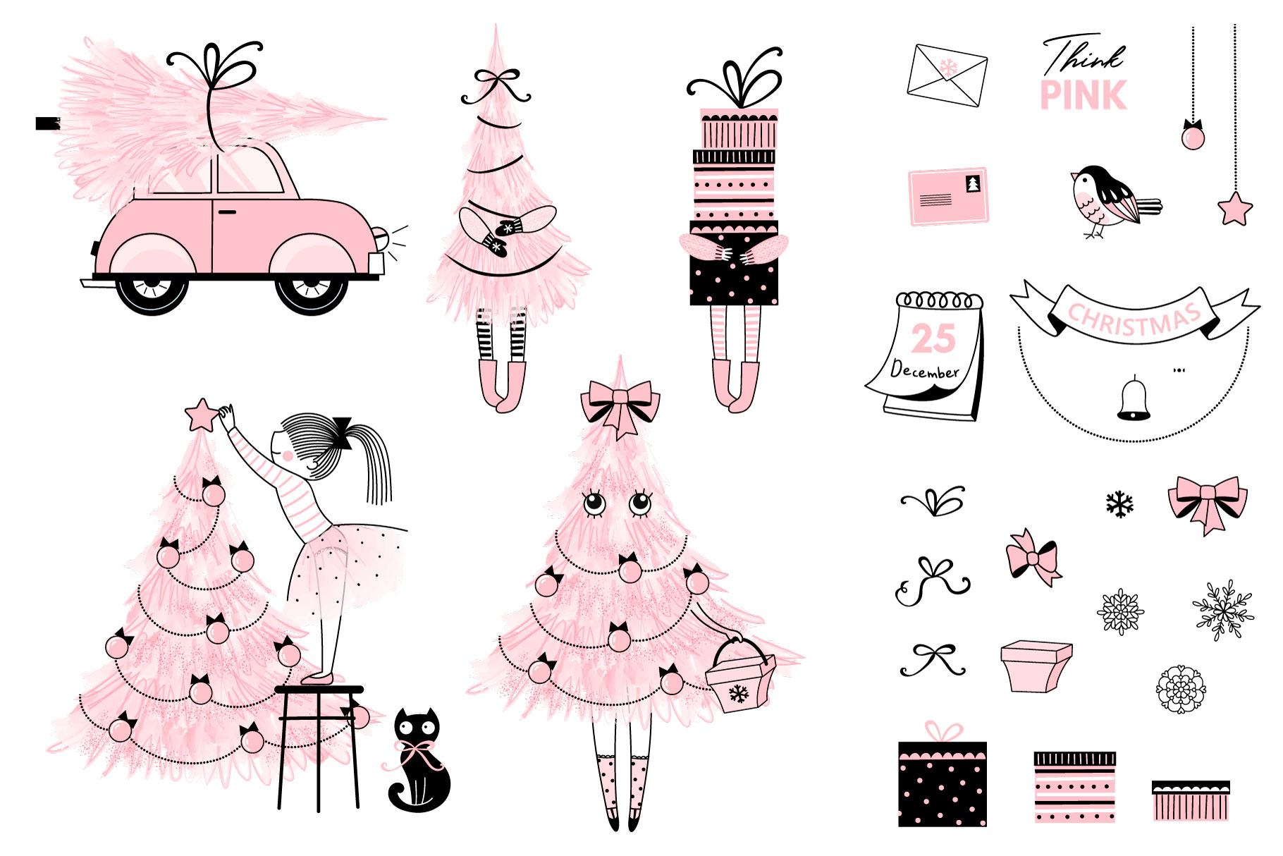 Cute Pink Christmas clip art set example image 2