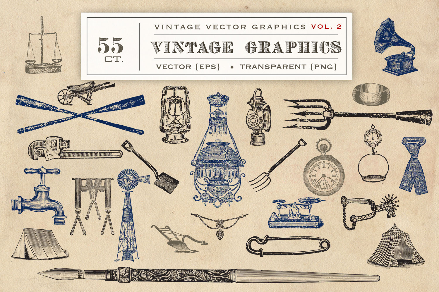 55 Vintage Vectors Graphics Vol. 2 example image 3