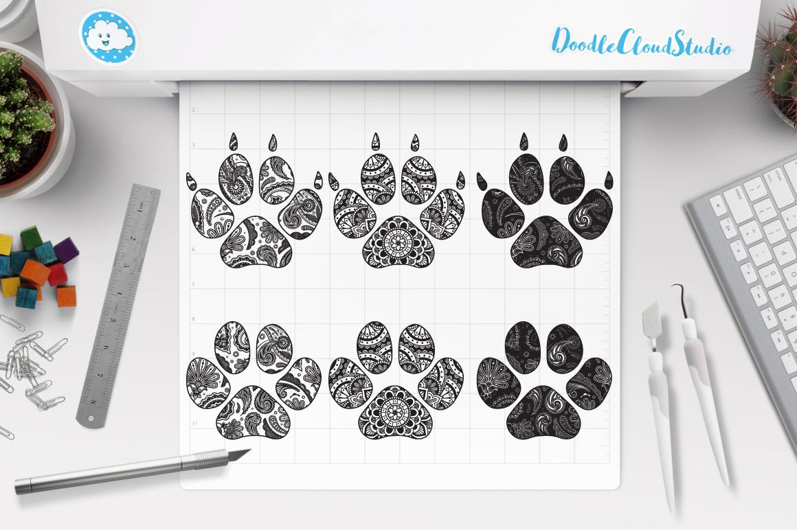 Paw Mandala SVG, Zentangle Paw SVG, Cat Paw, Dog Paw Mandala example image 1