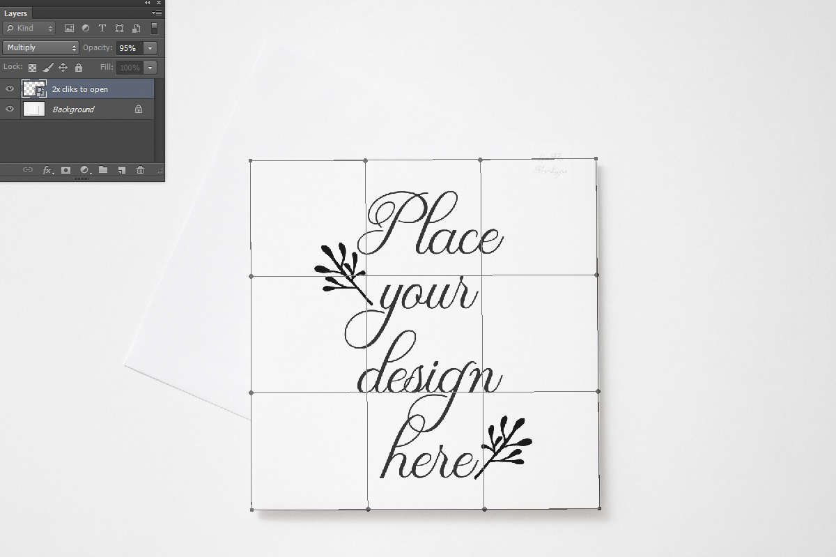 Square Greeting Card Mockup psd invitation with envelope example image 2