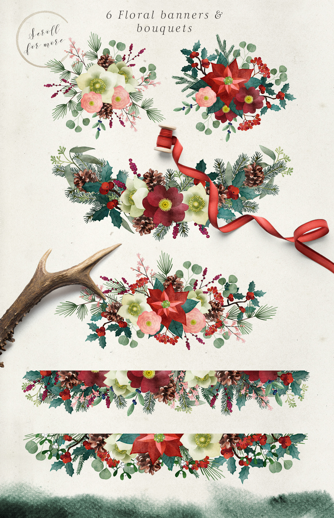 Vintage Christmas watercolor set example image 6