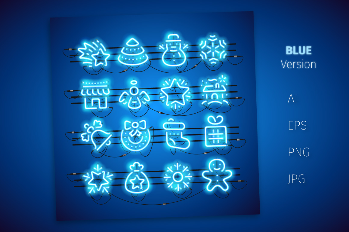 Christmas Colorful Neon Icons example image 3