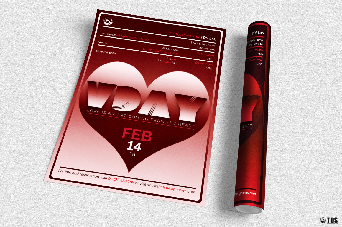 Valentines Day Flyer Template V11 example image 3