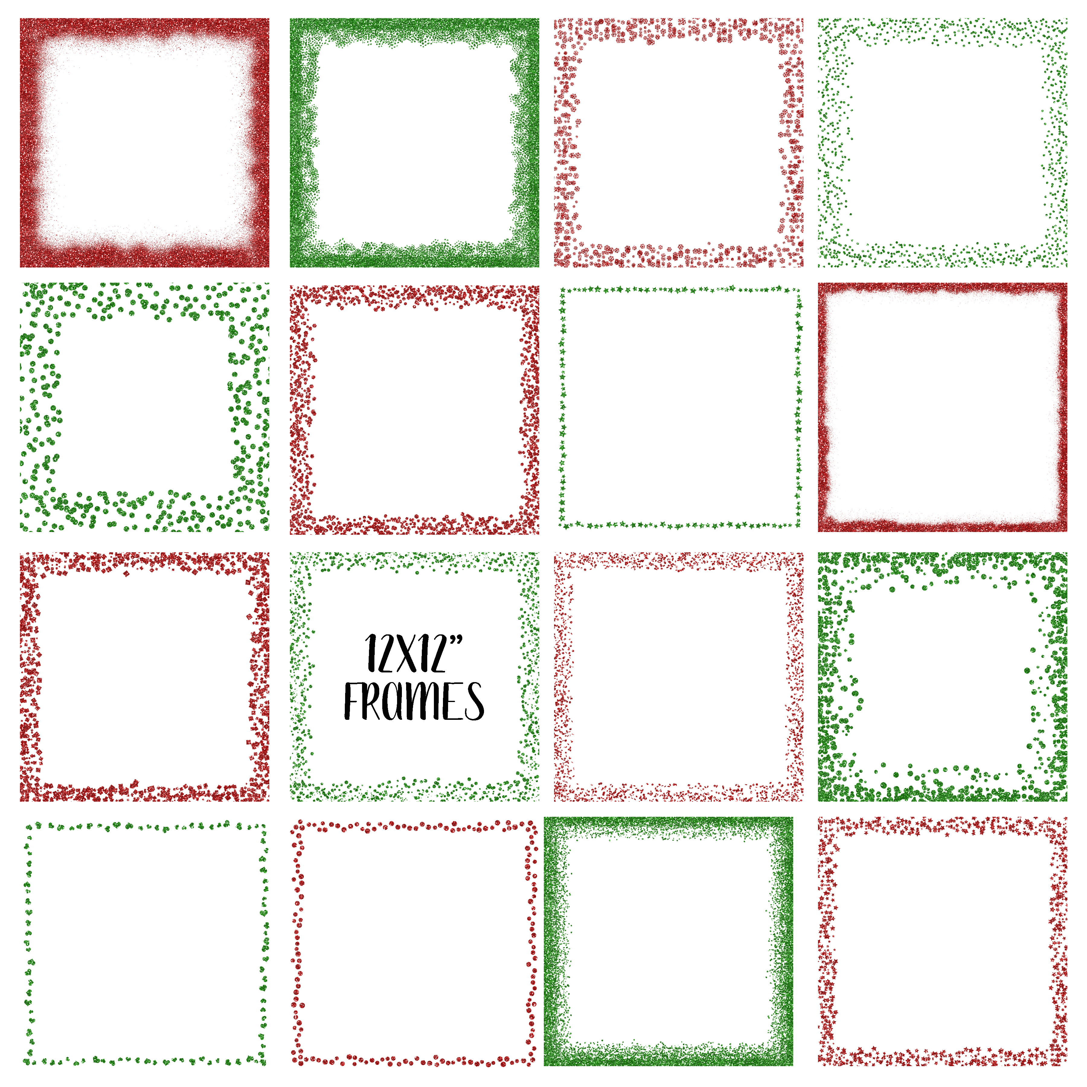Christmas Glitter Frames and Borders PNG Clipart Bundle example image 3
