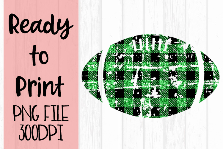 Green Glitter Buffalo Plaid Football Ready to Print example image 1