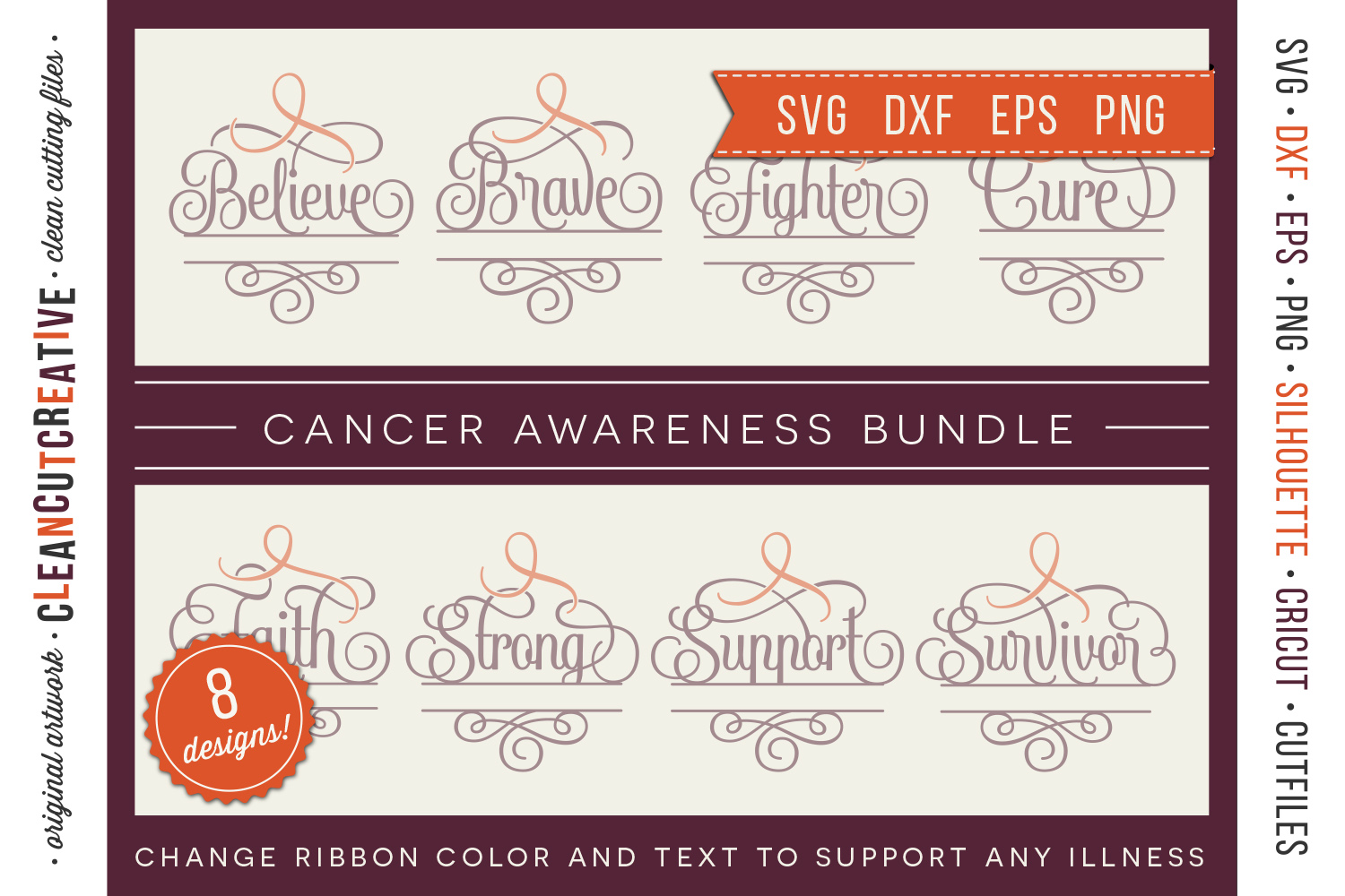CANCER AWARENESS BUNDLE- any cause SVG cut file design example image 1