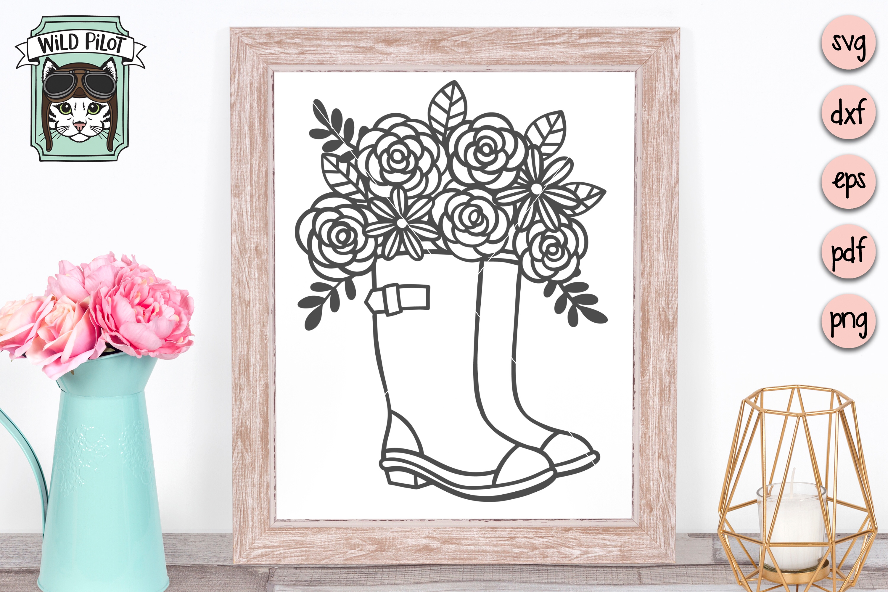 Rain boots svg file, Boots with flowers, Wellies cut file example image 3