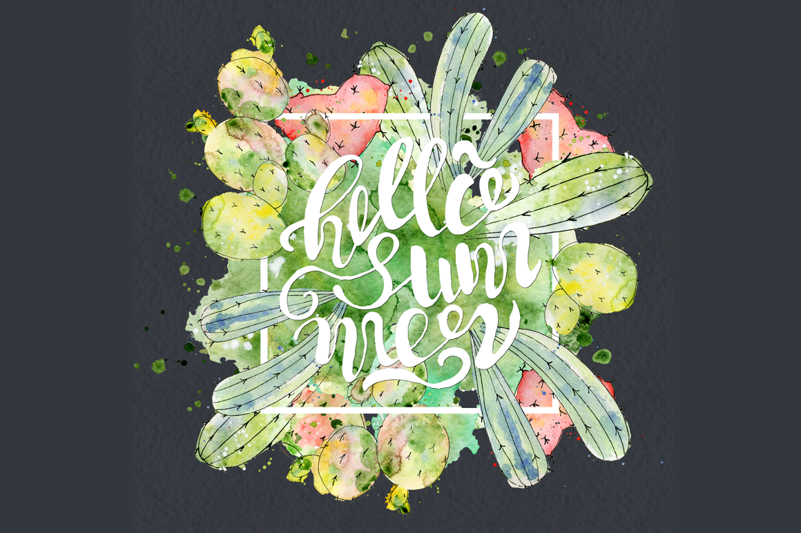 Boho Watercolor abstract Cactus Tropical clipart example image 2