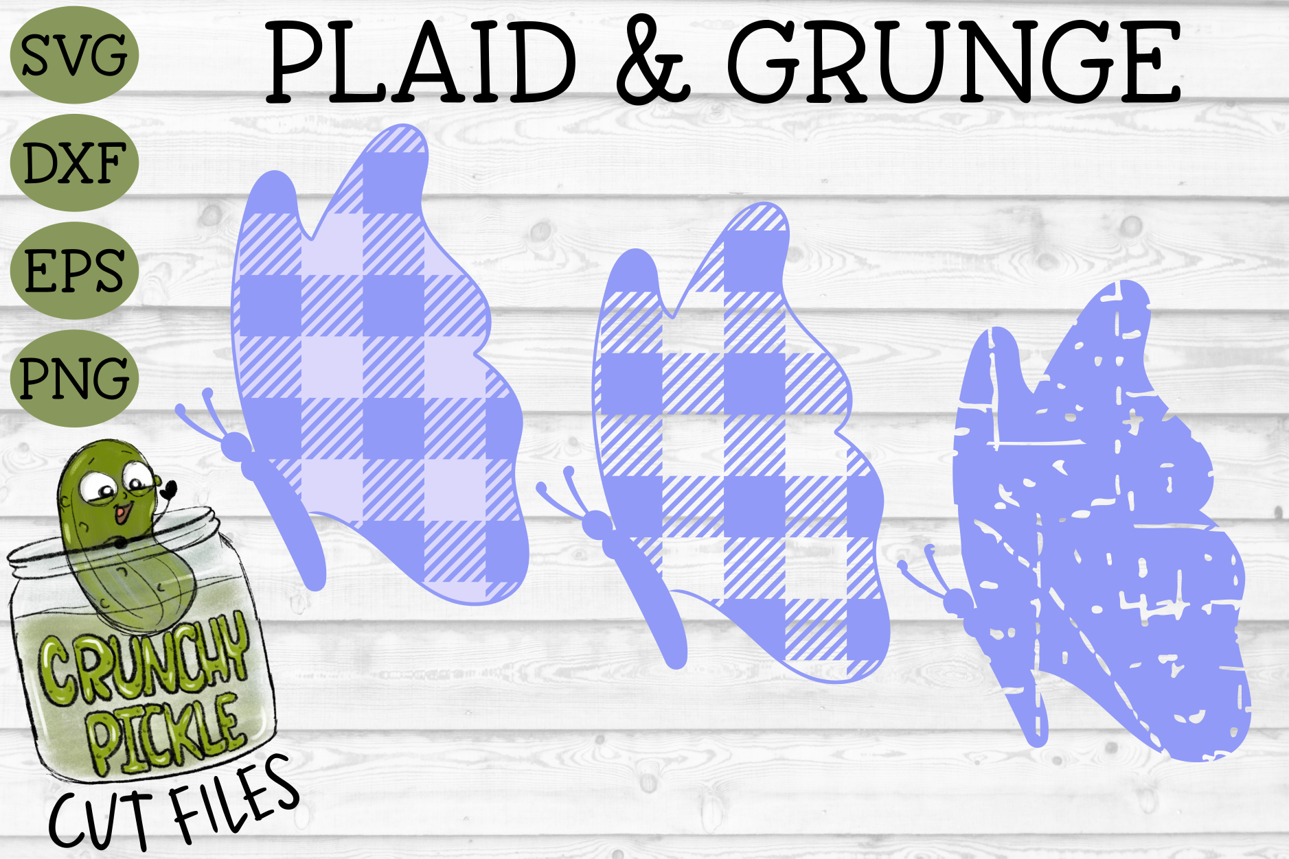 Plaid & Grunge Butterfly 2 SVG Cut File example image 1