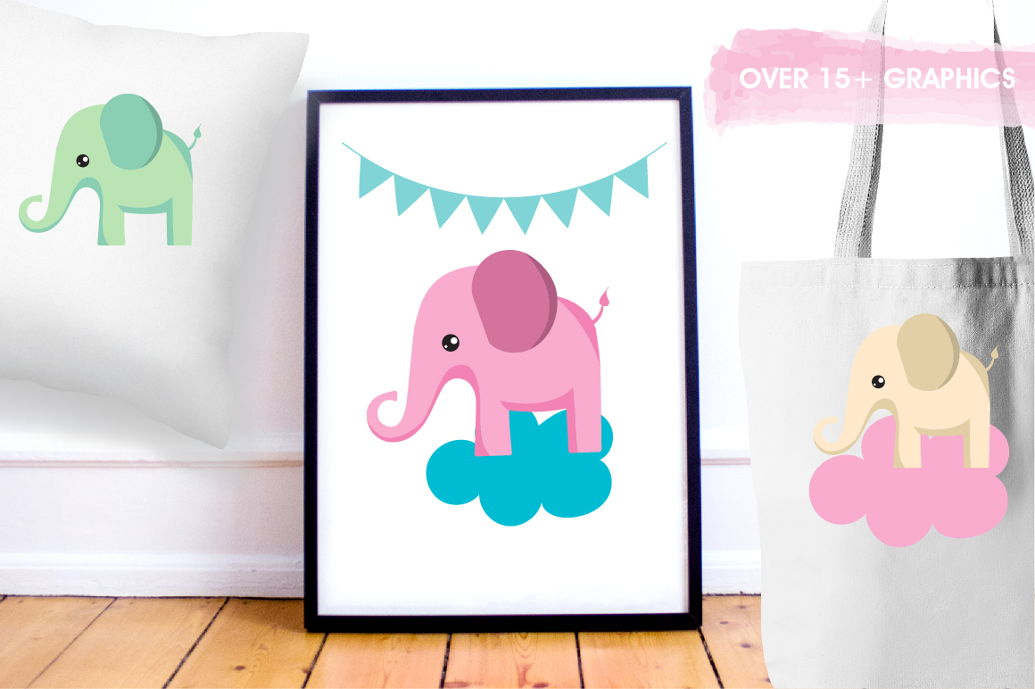 Bunting and elephants graphics and illustrations example image 5