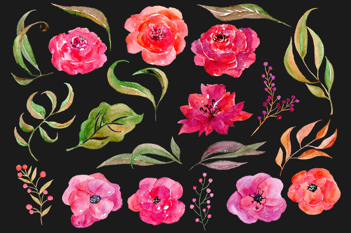 Watercolor flowers, 21 png clipart example image 3