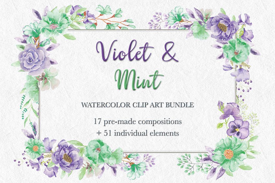 'Violet and Mint': watercolor clip art bundle example image 1