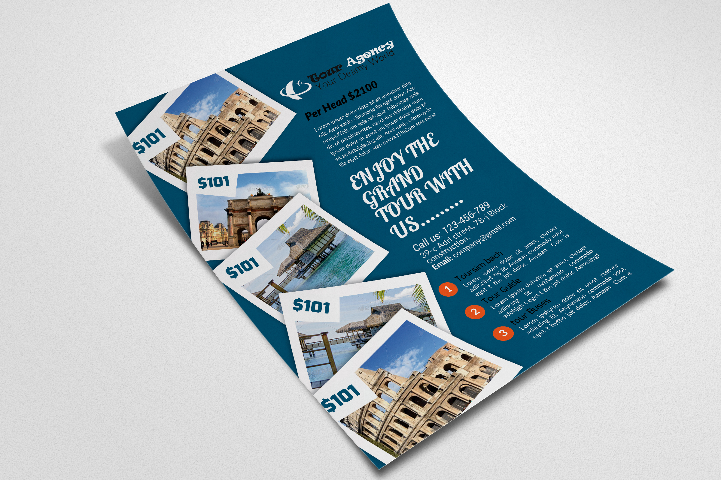 Tour & Travel Flyer Psd example image 3