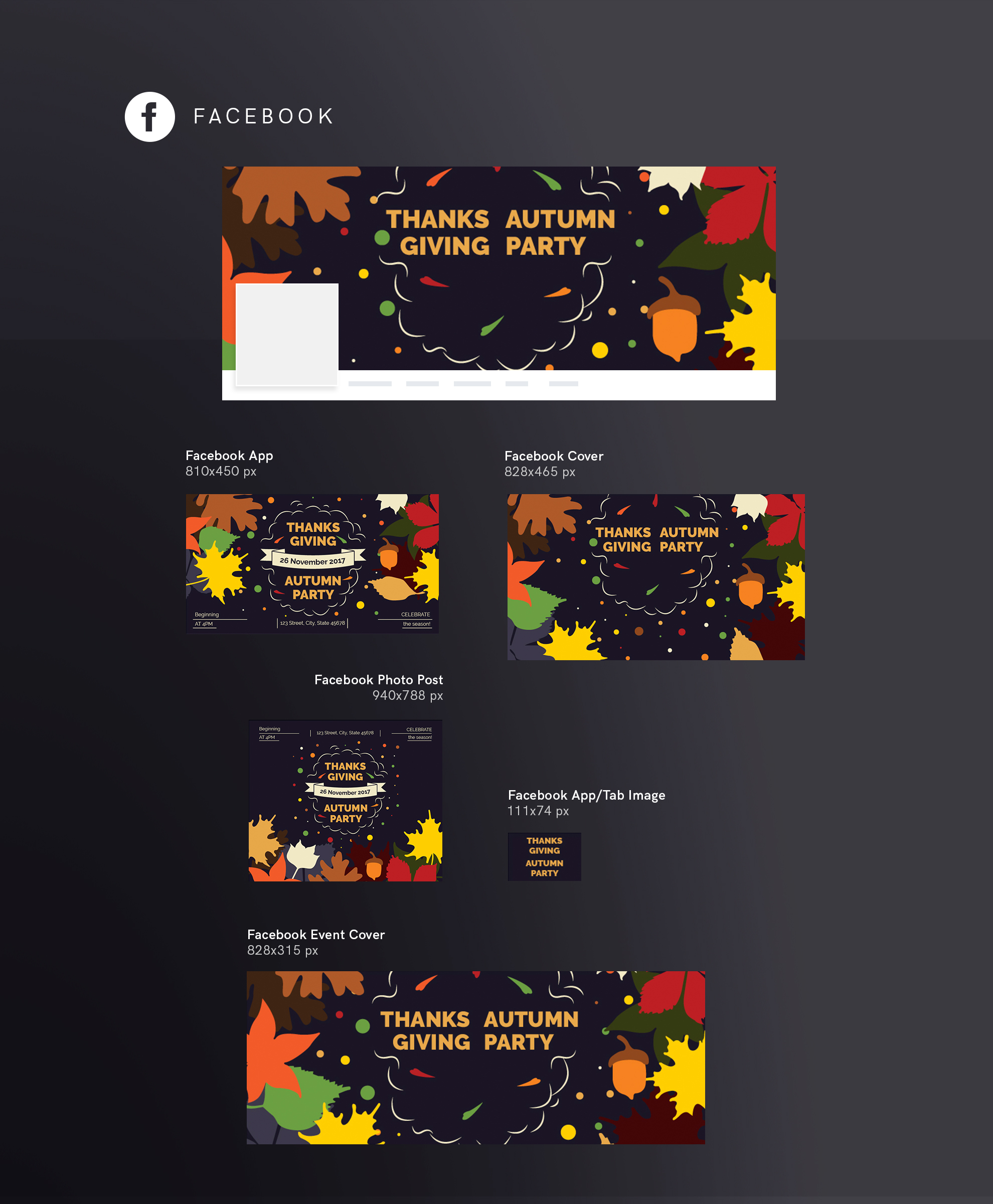 Thanksgiving Autumn Party Design Templates Bundle example image 9