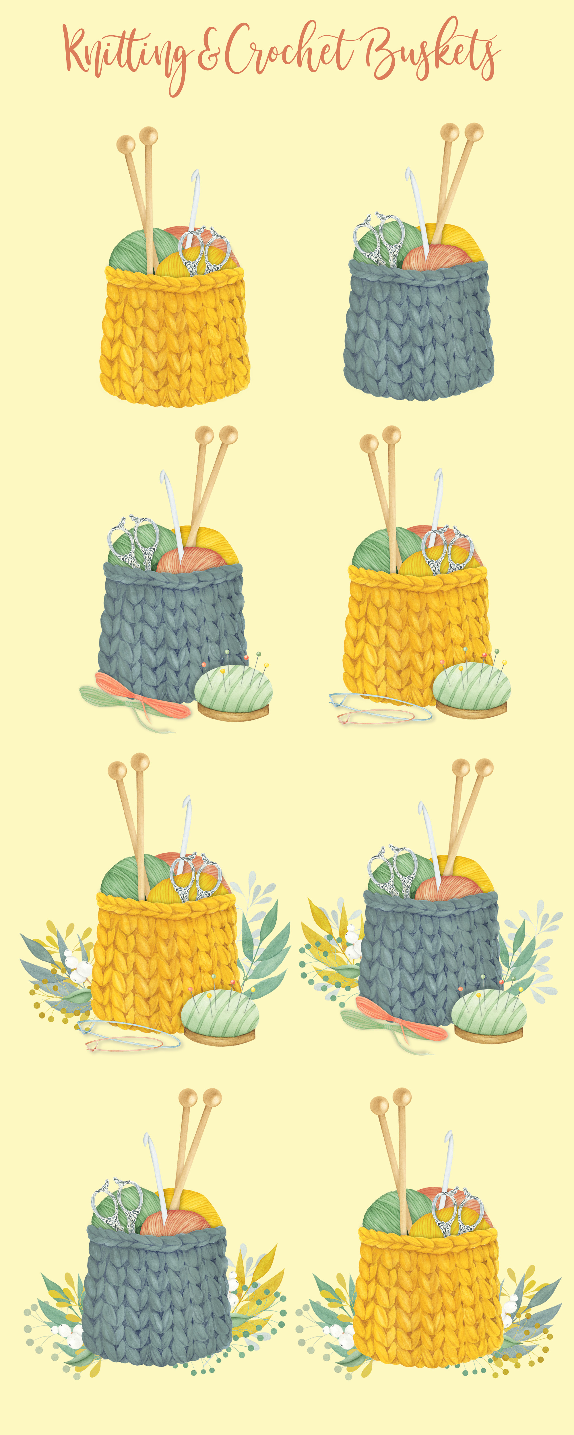 Watercolor Knitting and Crochet Clipart example image 4