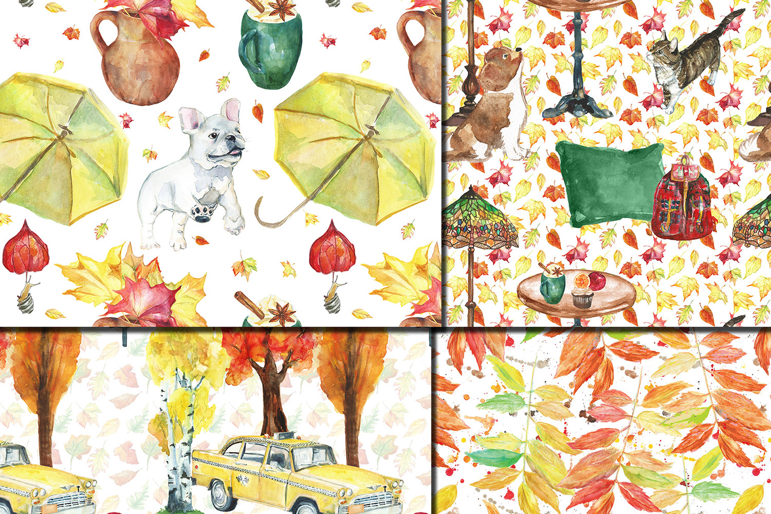 Watercolor City in fall seamless patterns example image 2