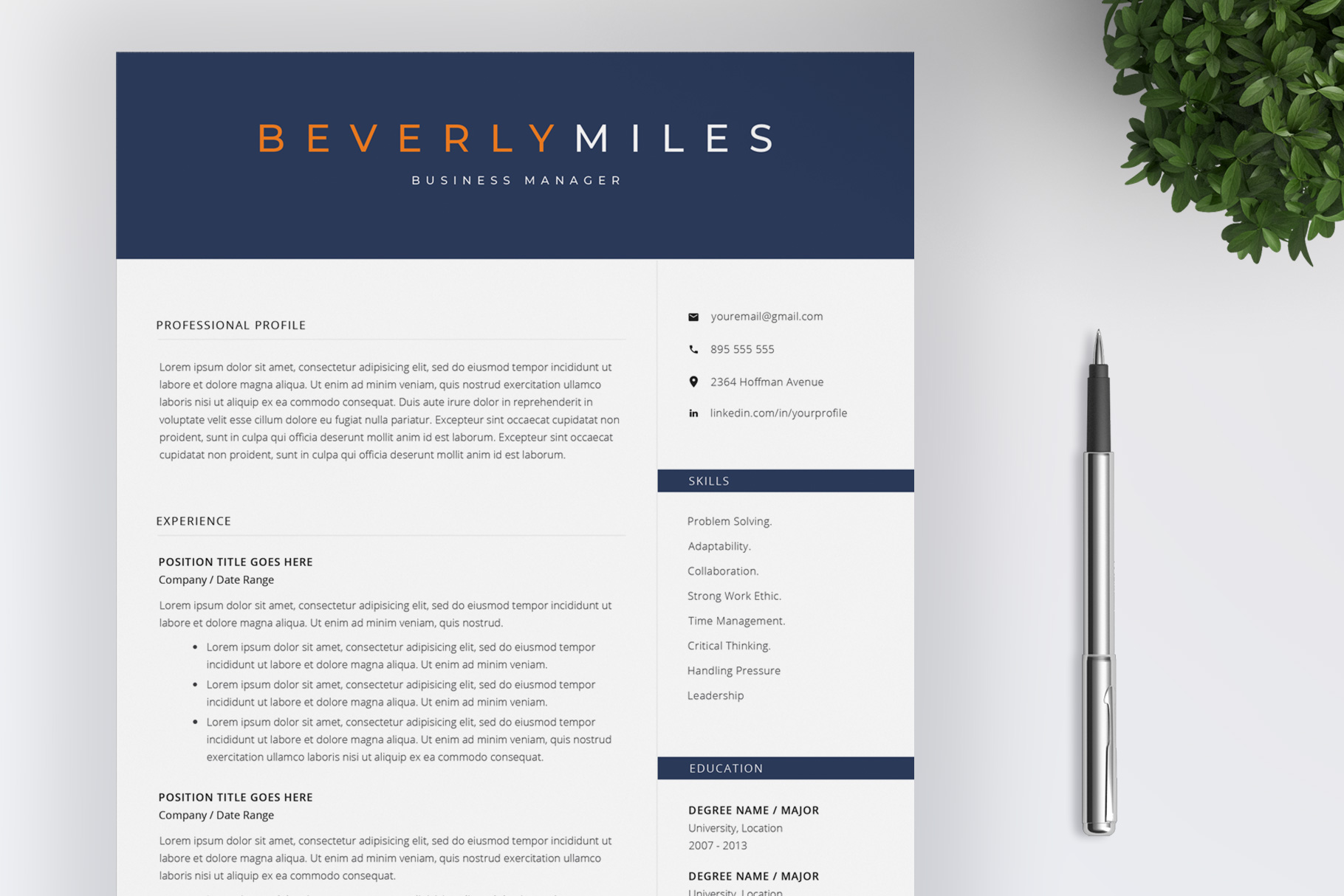 Resume Template and Cover Letter   CV template example image 1