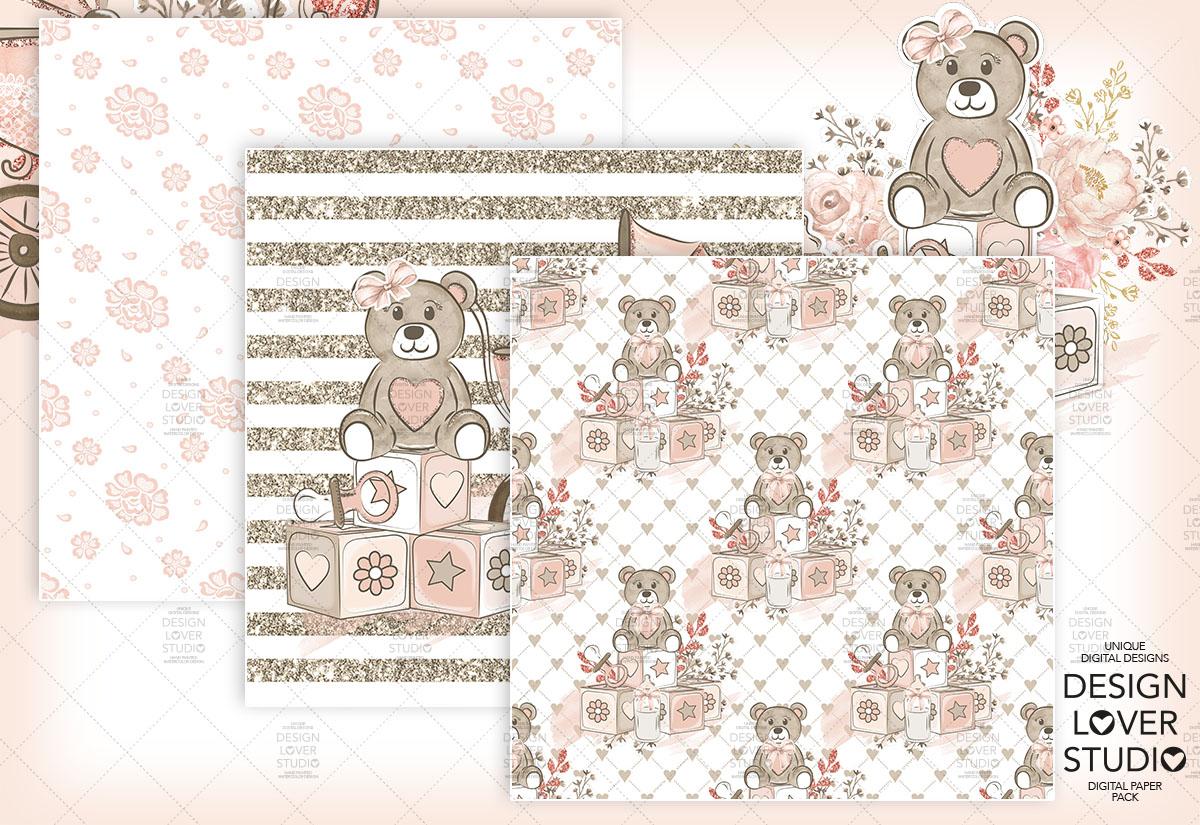 Baby Girl digital paper pack example image 5