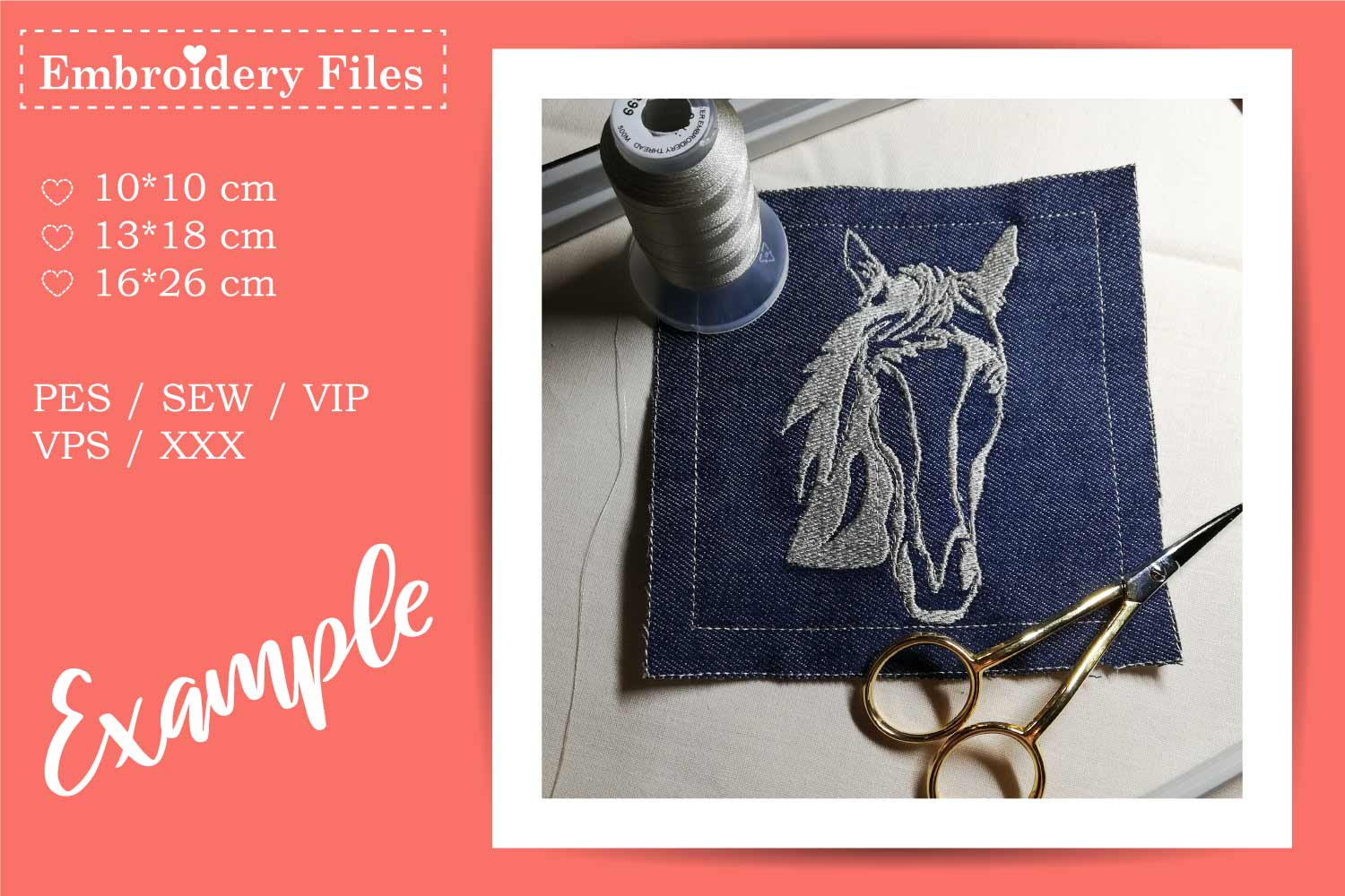 Horse Head - Embroidery File for Beginners example image 1