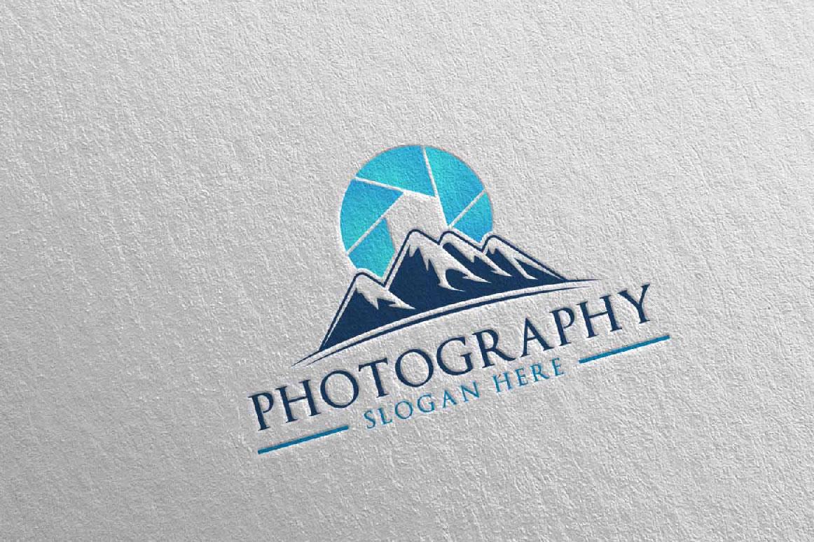 Abstract Mountain Camera Photography Logo 12 example image 2