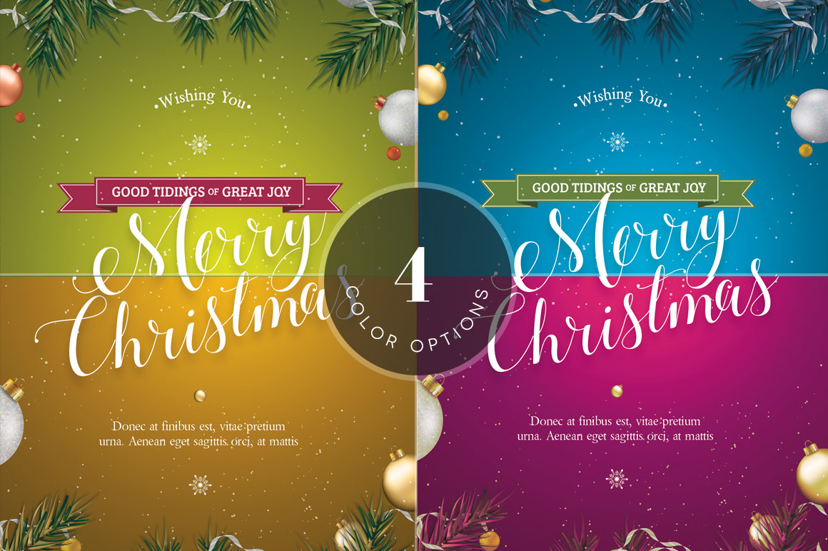Green Christmas Greeting Card Template example image 6