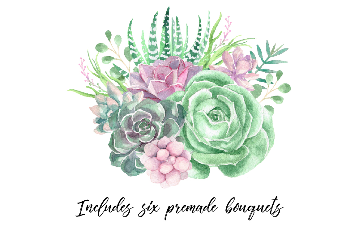 Watercolor Succulents And Greenery Example Image 7