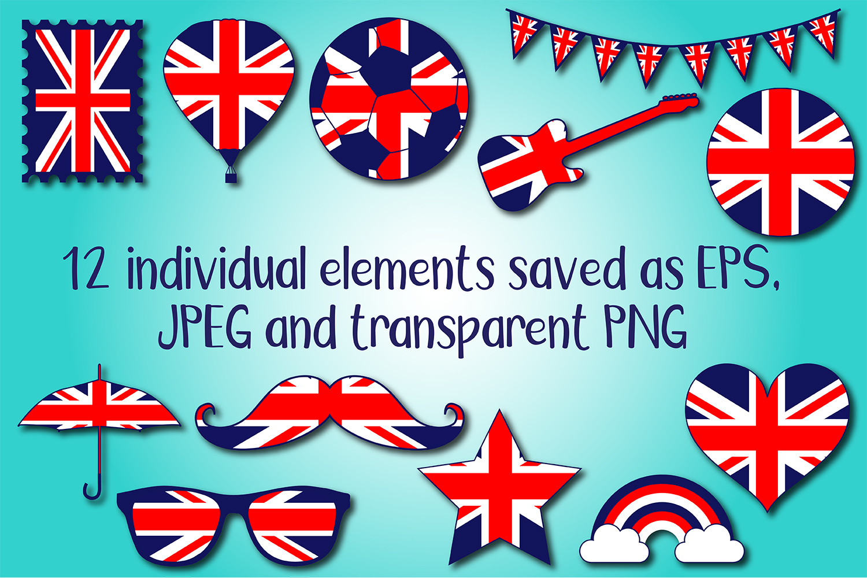 British Union Jack Shapes Clipart Bundle example image 2