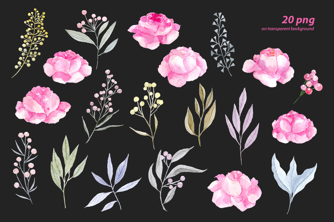 Watercolor pink roses png clipart example image 3