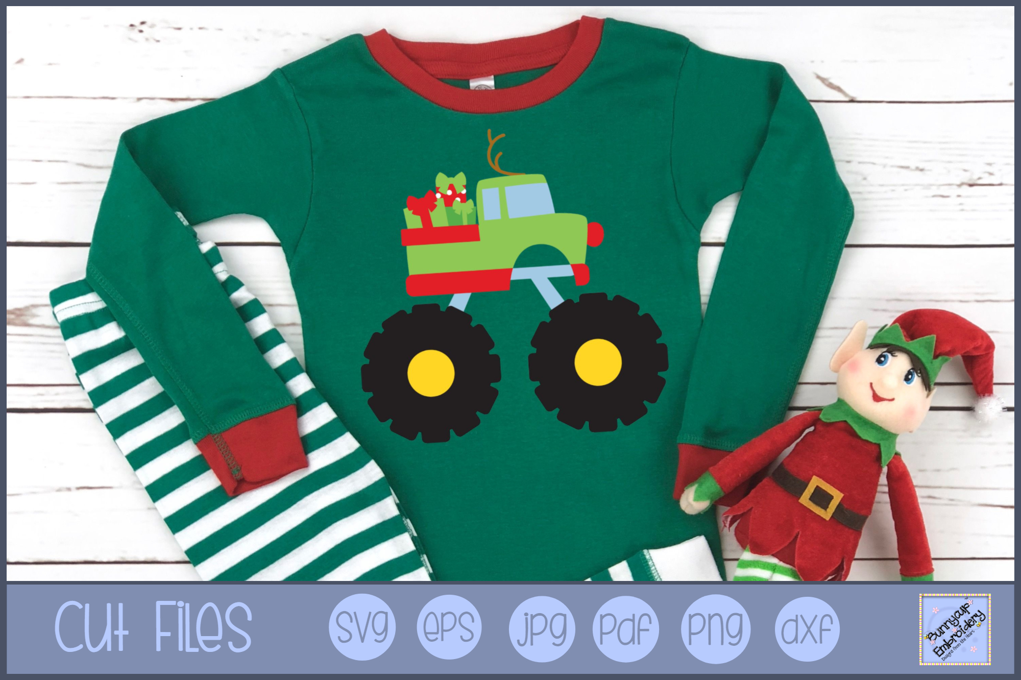 Christmas Monster Truck - SVG, Clipart, Printable example image 1