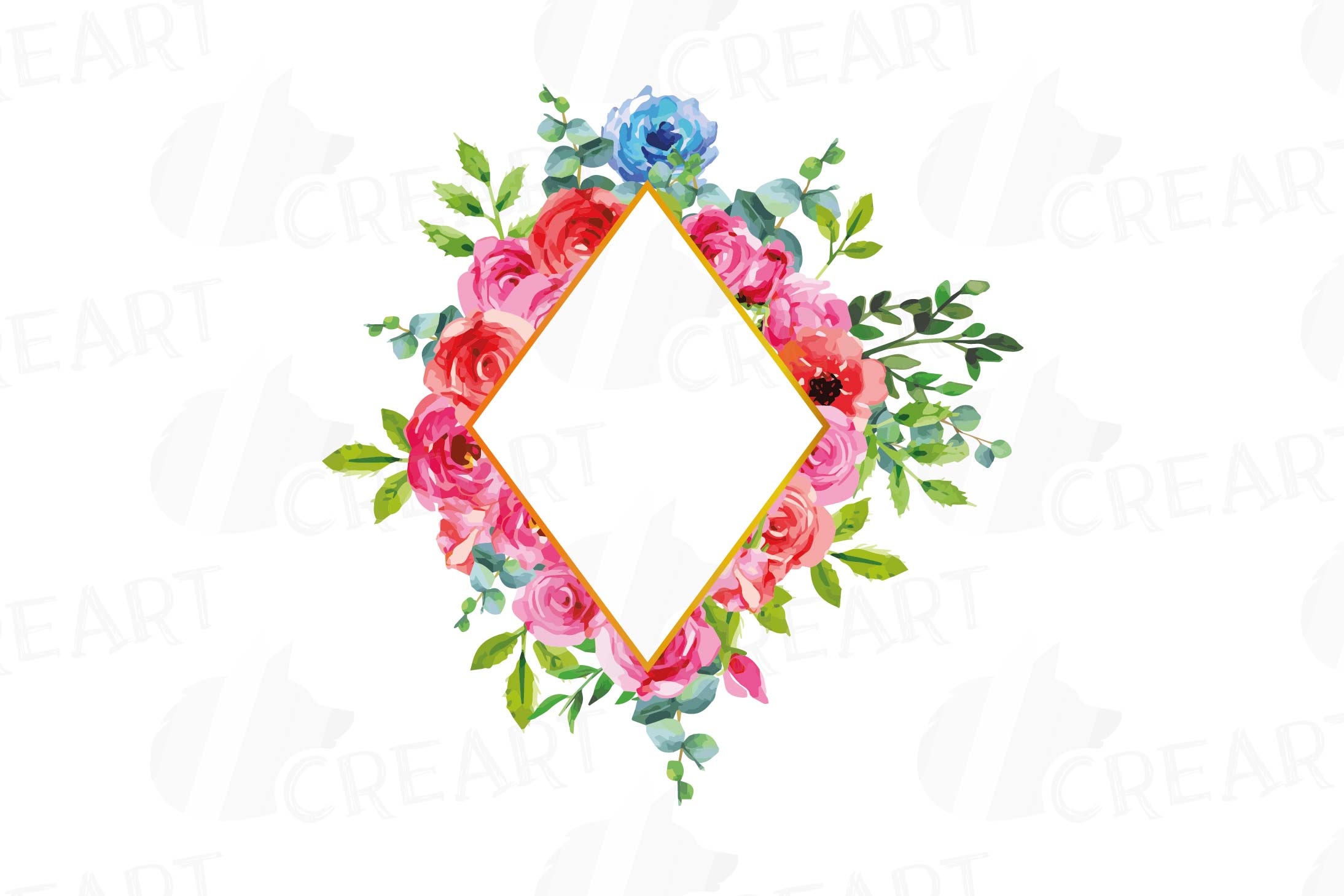 Boho pink and blue floral frames watercolor clip art pack example image 3