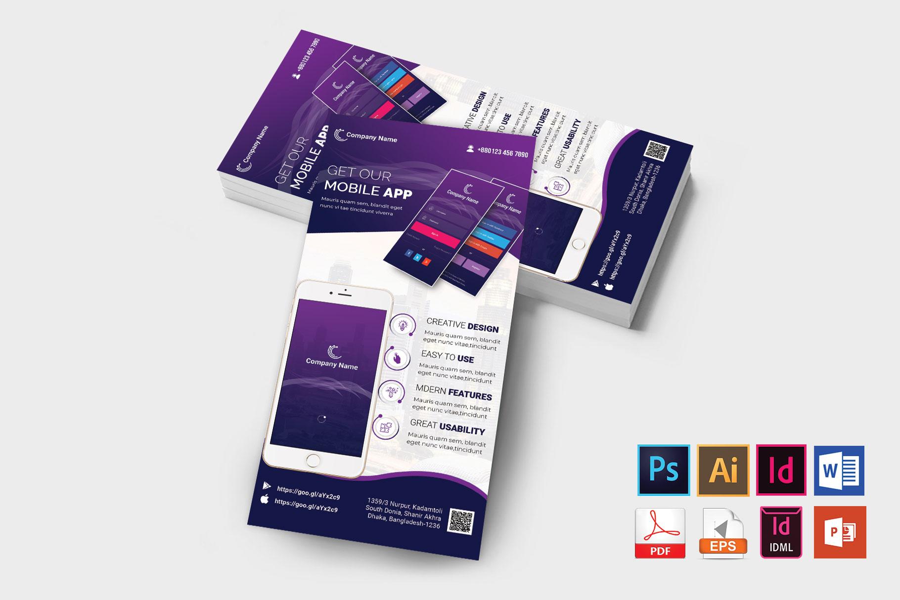 Mobile App Promotion DL Flyer Vol-01 example image 2