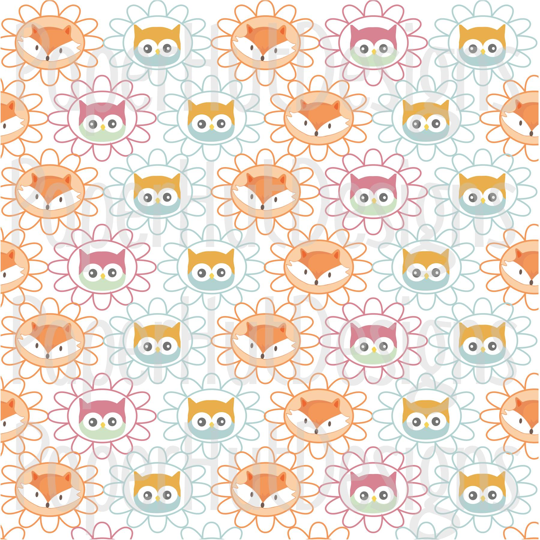 Fox and Owl Digital Papers example image 4