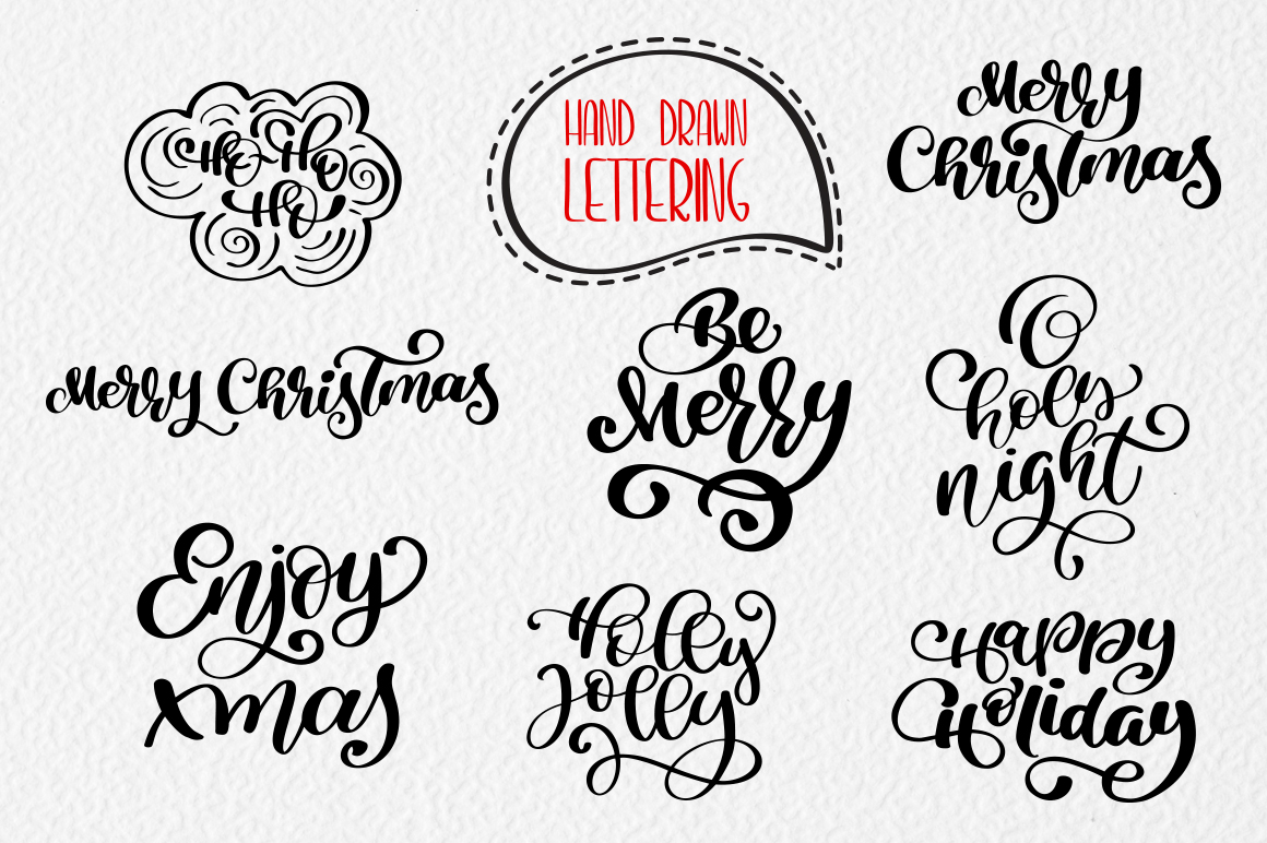 Merry Christmas Hand Draw Lettering Objects example image 4
