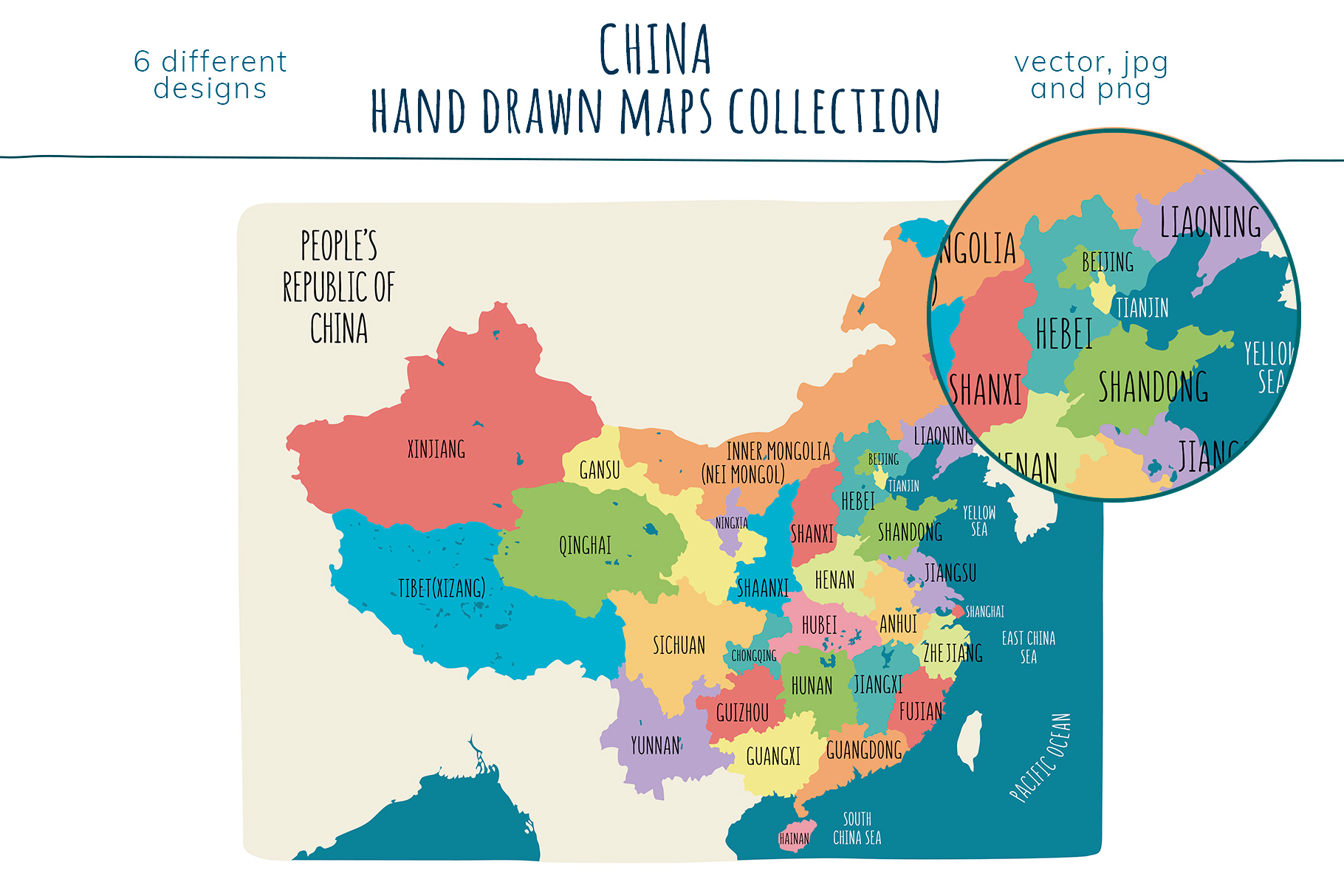 Maps of China. Hand drawn collection example image 3