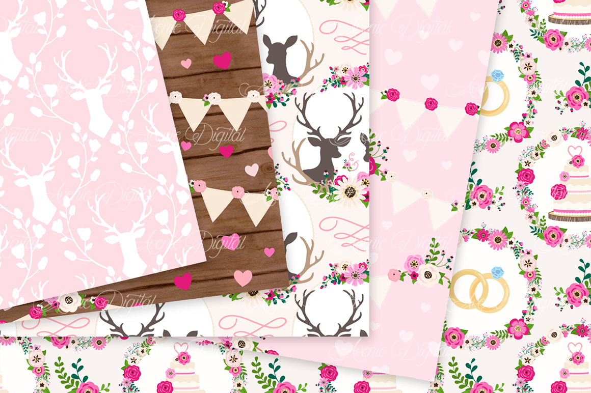 Hot Pink Rustic Wedding Digital Paper - Bright Pink Rustic Deer Wedding Seamless Patterns example image 2