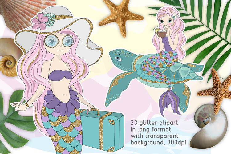 MERMAID VACATION Glitter Vector Illustration Set example image 2