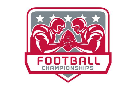 American Football Championship Crest Retro example image 1