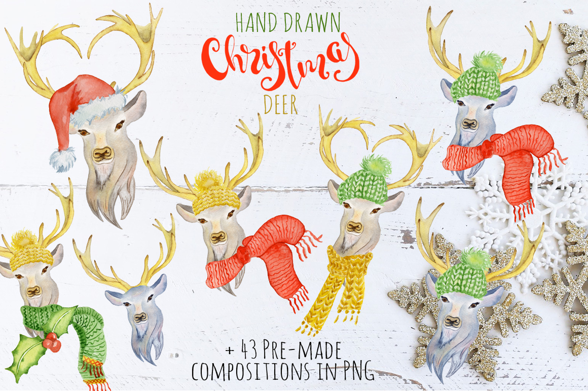 Christmas deer watercolor creator example image 3