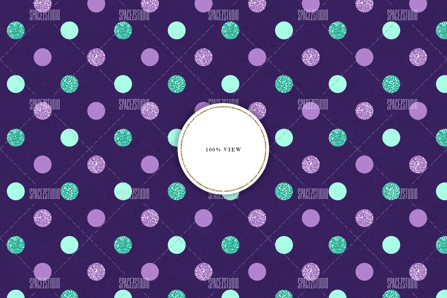 Mint, Purple & Glitter Tileable Geomteric Backgrounds example image 4